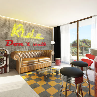 "Suite ""Biker Station"". Render 3D del proyecto."