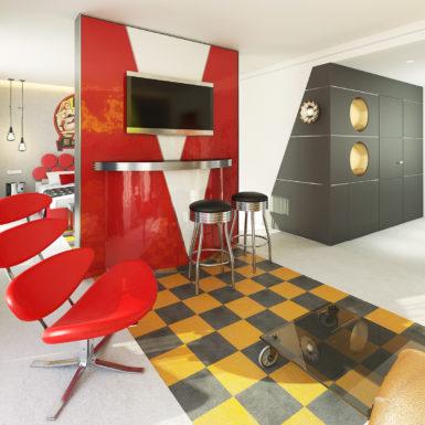 "Suite ""Biker Station"". Render 3D del proyecto"